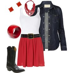red skirt, created by stantau on Polyvore