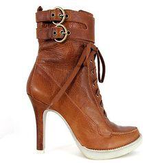 ✿ EDEL ✿ SEXY CITY PLATEAU STILETTO STIEFELETTE HEELS VINTAGE LEDER BRAUN 40 /41 in Stiefel & Stiefeletten | eBay