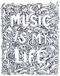Where Words Fail Music Speaks Coloring Page Artwork