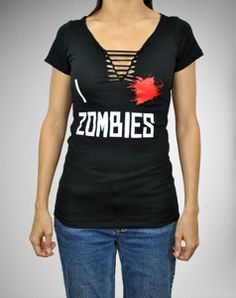'I Heart Zombies' Braided V-neck Junior Fitted Tee