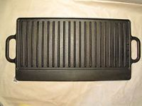 """Vintage LODGE Cast Iron GRIDDLE GRILL RESTORED Reversible 2 Sided 7GI2 21"""" x 10"""". From Great G'ma Maude's kitchen."""