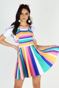Whoever invented ice-cream cake deserves a medal, a few thousand hugs and maybe some puppies for good measure. A godsend for gluten intolerance and terrible bakers alike, ice cream cake also comes in vibrant, striped layers – kind of like this dress Cream Cake, Ice Cream, Black Milk Clothing, Apron Dress, My Black, Colorful Fashion, Overall Shorts, Printing On Fabric, Fashion Outfits