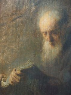 Rembrandt's prophet is always a an aging thinker, a philosopher. We don't really know which book he is reading.