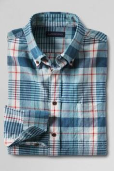 Men's Long Sleeve Madras Shirt from Lands' End - in Lavender shadow plaid