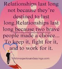 Relationships last long ...