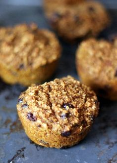 Pumpkin Chocolate Chip Oat Protein Muffins - gluten free!