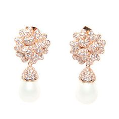 Rose Gold Pearl Drop Earrings - the elegant design is completed with a Swarovski droplet pearl.