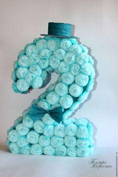 Праздничная атрибутика ручной работы. Ярмарка Мастеров - ручная работа. Купить Объёмная декоративная цифра для дня рождения. Handmade. Голубой