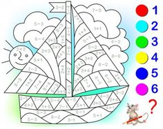 Educational page with exercises for children on addition and subtraction. Need to solve examples and to paint the image in relevant colors. Developing skills for counting. Educational Activities, Book Activities, Preschool Activities, Math For Kids, Fun Math, Mental Maths Worksheets, Math Pages, English Teaching Materials, Math Anchor Charts