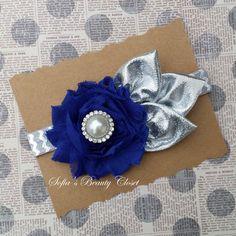 Blue Silver headband. Baby silver headband. by SofiasBeautyCloset