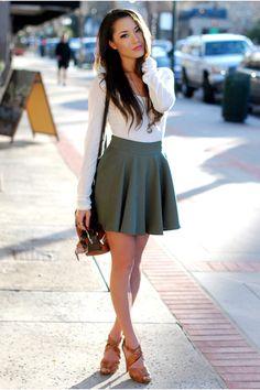 Brown dailylook bag white romwe t-shirt olive-green chicwish skirt