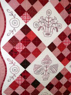 Christmas Embroidery Patterns, Embroidery Applique, Machine Embroidery, Patch Quilt, Quilt Blocks, Two Color Quilts, Red And White Quilts, Bird Quilt, Embroidered Quilts