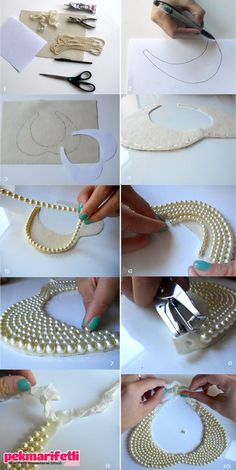 DIY collar necklace loft in soho: Peter Pan collar + DIY Pearl Collar Necklace loft in soho: Peter Pan collar + DIY Pearl Collar Necklace What you'll need: 1 piece of x 11 creme piece of felt 2 yards of strung pearls. glue gun or adhesive 1 ft ribbon scis Diy Necklace, Collar Necklace, Fashion Necklace, Pearl Necklace, Necklace Ideas, Necklace Tutorial, Fashion Jewelry, Beaded Necklaces, Necklace Holder