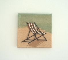 Deckchair in Seashell Mosaic on Sand Wall Art, Beach Artwork with Deckchair on Sand for home decor, Mosaic Art Deckchair. Created on a box canvas, including the sides to enhance the effect. Dimensions: 8 High x 8 Wide x Deep x x Weight This 3d Wall Art, Art 3d, Pictures Of Insects, Folding Beach Chair, Beach Artwork, Turquoise Glass, Beach Chairs, Beach House Decor, Mosaic Art