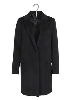 Manteau droit à col tailleur en laine  Noir by BERENICE