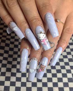 """1,958 Me gusta, 17 comentarios - 🎀💅🏻𝑵𝑨𝑰𝑳𝑨𝑹𝑻  & pedicure💅🏻🎀 (@garritaspalasnenas) en Instagram: """"💜💖Hello Kitty angel nails💖💜 las amooo🥺 . . #hellokitty #hellokittynails #sanrio #sanrionails…"""" Bling Acrylic Nails, Summer Acrylic Nails, Bling Nails, Angel Nails, Hello Kitty Nails, Edgy Nails, Exotic Nails, Claw Nails, Manicure Y Pedicure"""
