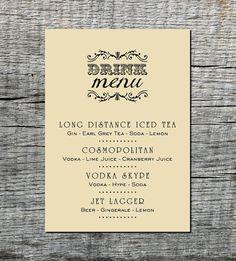 Industrial Drink Menu Card Custom - Wedding, Party, Celebration, Event - DIY Printable