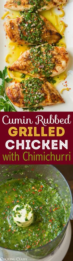 Cumin Rubbed Grilled Chicken with Chimichurri Sauce - this is one of my ALL TIME FAVORITE chicken recipes! So fresh so flavorful and perfectly healthy.