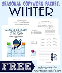 "Winter is a great time to bundle up and work on some of those handwriting skills between the holidays. This FREE pack contains 35 pages of copyworb for PreK-5th grade - including the poem ""Woods in Winter"" by Henry Wadsworth Longfellow. :: www.intoxicatedonlife.com"