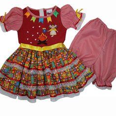 Cegonha Feliz Tamanho 1 ao 3 : Vestido de Festa Junina Bandeirinhas Infantil