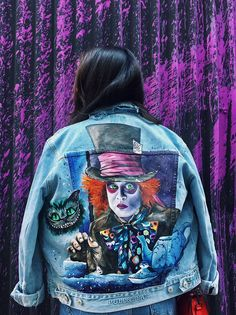 Painted Jeans, Painted Clothes, Diy Clothing, Custom Clothes, Custom Denim Jackets, Painted Leather Jacket, Denim Art, Denim Ideas, Denim Crafts