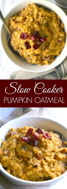 Slow Cooker Pumpkin Oatmeal - Pumpkin Oatmeal - Pumpkin Oatmeal Healthy - Pumpkin Oatmeal Recipe - Crockpot Pumpkin Oatmeal - Pumpkin Oatmeal  Slow Cooker - Overnight Pumpkin Oatmeal