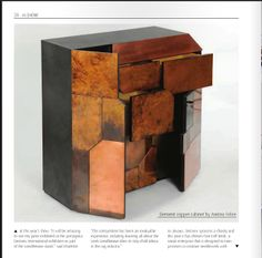 The Elementi Patterned Copper Cabinet is a monolithic, rough and challenging piece of sculptural furniture. Clad with copper sheet which disguises cupboards and drawers behind it.