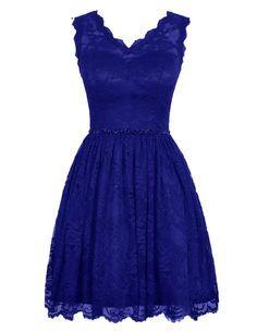 Diyouth Elegant Short V Neck Lace Flower Formal Bridesmaid Dress Royal Blue Size 2
