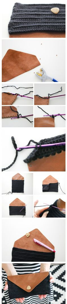 DIY Crocheted Leather Flap Clutch by Teresa Restegui Crochet Diy, Love Crochet, Crochet Crafts, Crochet Projects, Crochet Clutch, Crochet Handbags, Crochet Purses, Crochet Bags, Couture Cuir