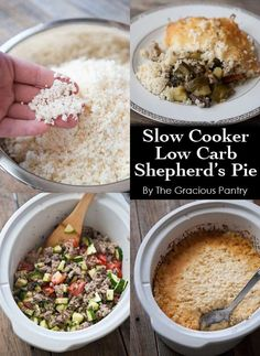 Clean Eating Slow Cooker Lower Carb Shepherd's Pie ~ http://www.thegraciouspantry.com