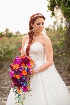 10 Ways To Style Your Wedding Hair - Fishtail Braid Side Swept!  via Multicolored Fall Wedding by Amanda Hedgepeth Photography | Hair: Salon Fusion