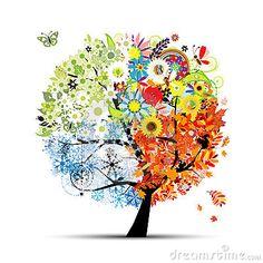 Seizoenen - de lente, de zomer, de herfst, de winter. De boom van de kunst
