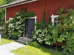 Garden On A Hill, Lush Garden, Home And Garden, Outdoor Rooms, Outdoor Gardens, Scandinavian Garden, Sweden House, Red Houses, Country Landscaping