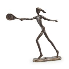 Handcrafted with the sand casting method, this bronze sculpture of a lady playing tennis portrays the dynamic nature of the sport. Great gift or trophy for players and coaches.