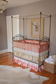 Project Nursery - Custom Crib Bedding featuring Lace Pulled from an Antique Wedding Dress