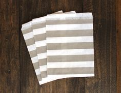 Grey Striped Treat Paper Bags  packaging by BoxandBowsupply, $3.00