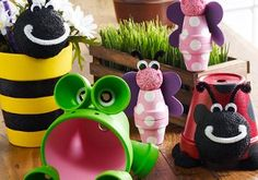 These Clay Pot Critters are perfect for livening up your garden!  You can make a bee, butterfly, frog, ladybug, or all four!  These terra cotta pots also make great housewarming gifts when combined with a plant.