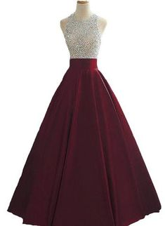 long prom dresses - Wine Red Sequins and Beaded Backless Satin Formal Gown, Handmade Party Dress 2019 Pretty Prom Dresses, Prom Party Dresses, Ball Dresses, Dance Dresses, Homecoming Dresses, Cute Dresses, Ball Gowns, Evening Dresses, Winter Dresses