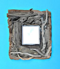 "Driftwood Framed Mirror, Handmade Beach Decor, Decorative Wall Mirror, Nautical Decor, 16"" W X 18"" H, Cottage Decor, Southeast Driftwood  $125"