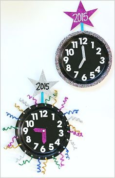 New Year's Eve with Kids: Countdown Clock Craft Using Paper Plates - Buggy and Buddy New Year's Eve Crafts, Holiday Crafts, Holiday Fun, Daycare Crafts, Preschool Crafts, Crafts For Kids, Preschool Ideas, New Years With Kids, New Year's Eve Activities