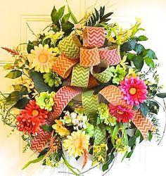 Spring Wreath or Summer Wreath  Front Door by MarysBluebirdWreaths