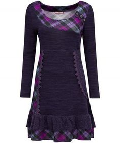 Mixing rich knitted fabrics in beautiful tones of purples, this sweet little dress is an essential for the colder months. Simply pair it with our basic leggings for an instant outfit. Approx Length: 90cm Our model is: 5'8""