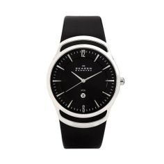 Skagen Men's 597LSLB Black Leather Watch Skagen. $64.95. Water-resistant to 99 feet (30 M). Case diameter: 41 mm. Mineral crystal. Stainless-steel case; Black dial; Date function. Quality Japanese-Quartz movement. Save 35% Off!