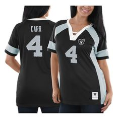 134689522 Derek Carr Oakland Raiders Majestic Women s Draft Him Name   Number Fashion  V-Neck T-Shirt - Black