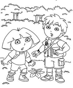 Coloring Dora And Diego In The Forest Explorer P Pages Halloween Pumpk