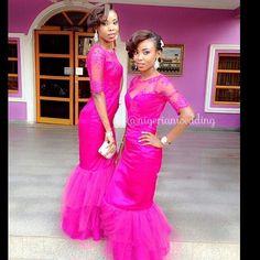 Fuchsia pink lace bridesmaids dresses