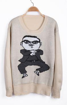 [US$27.87] - Apricot Long Sleeve Gangnam style Pattern Sweater : FoxFriday.com