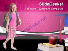 School Girl Education PowerPoint Template 0810 #PowerPoint #Templates #Themes #Background