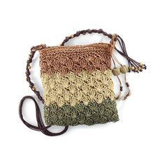 Crochet Straw Crossbody Bag Natural ($20) ❤ liked on Polyvore featuring bags, handbags, shoulder bags, straw shoulder bag, crossbody handbags, cross body strap purse, woven purse and colorblock handbags