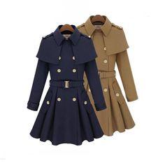 blue coat,womens clothes double breasted parka jacket,bluecoat